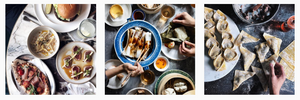 Flat lay shot of delicious food settings on Instagram