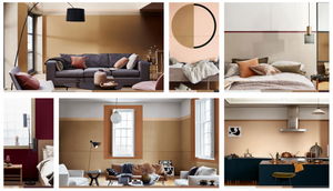 Dulux interior paint trends showcases four different room settings using a spiced honey colour palette