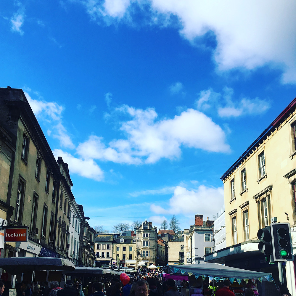 Blue skies at Frome Market Independent