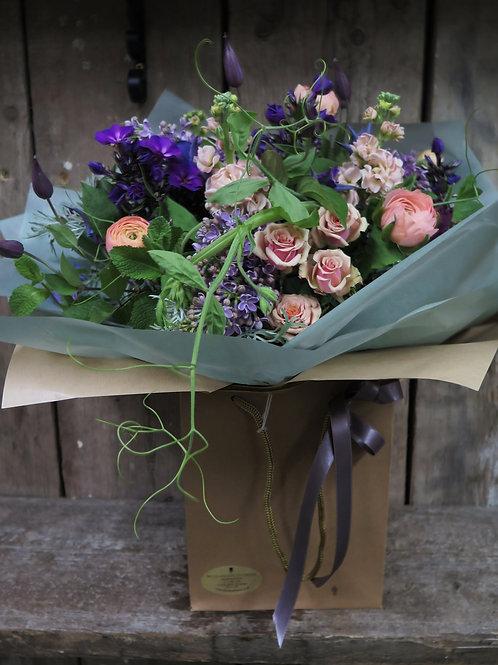 Purple Wallflower Hand-tied
