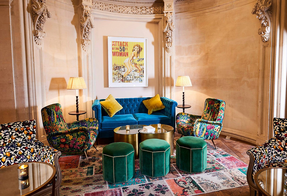 A colourful array of furniture sits in the alcove of Bristol Harbour Hotel's cocktail Gold Bar
