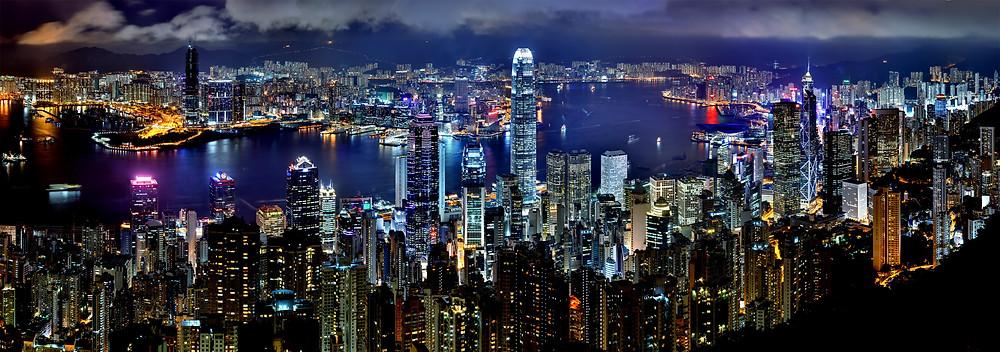 Skyline of Hong Kong metropolitan city at night