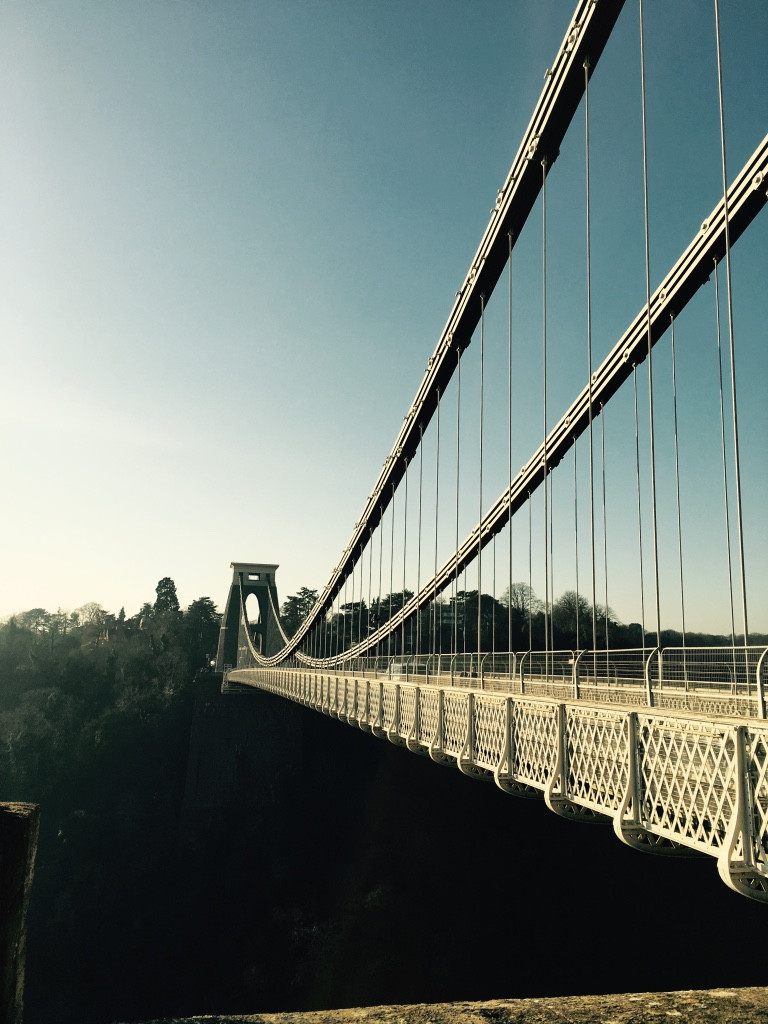 A blue sky view of Bristols Clifton Suspension Bridge