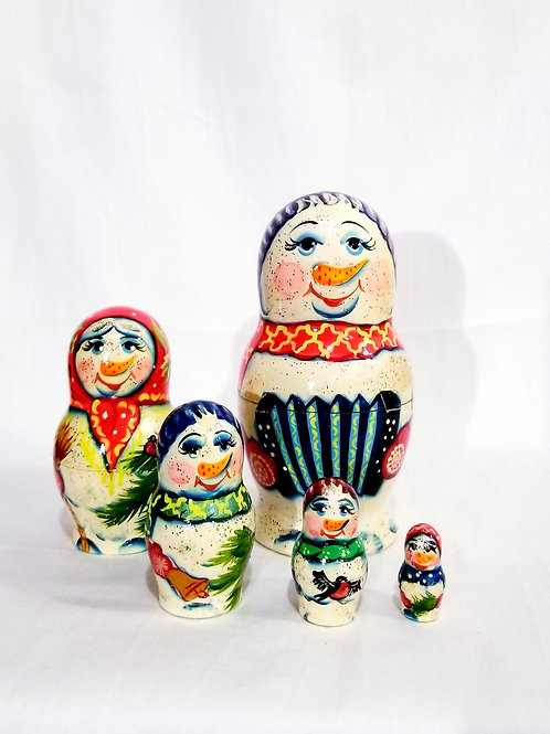 Snowman nesting dolls, 5 pcs 5.5 in high