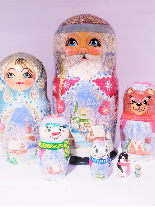 Santa Claus Russian nesting doll,7 pieces