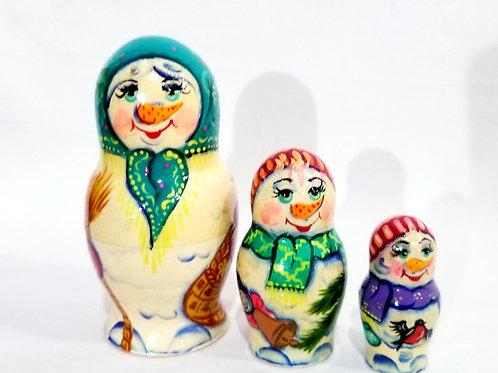 Snowman nesting dolls, 3 pcs 4 in high
