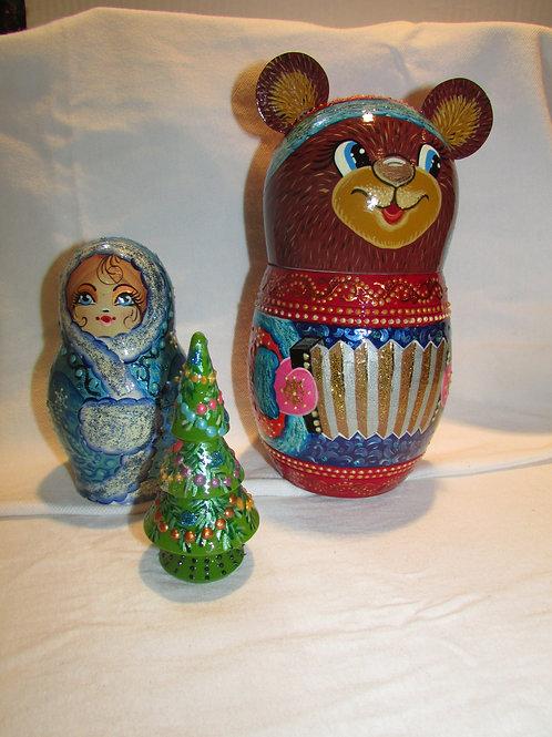 3 pieces Brown Christmas bear