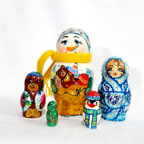 Snowman nesting dolls, 5 pcs