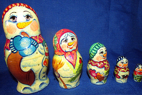 5 pieces snowman nesting doll