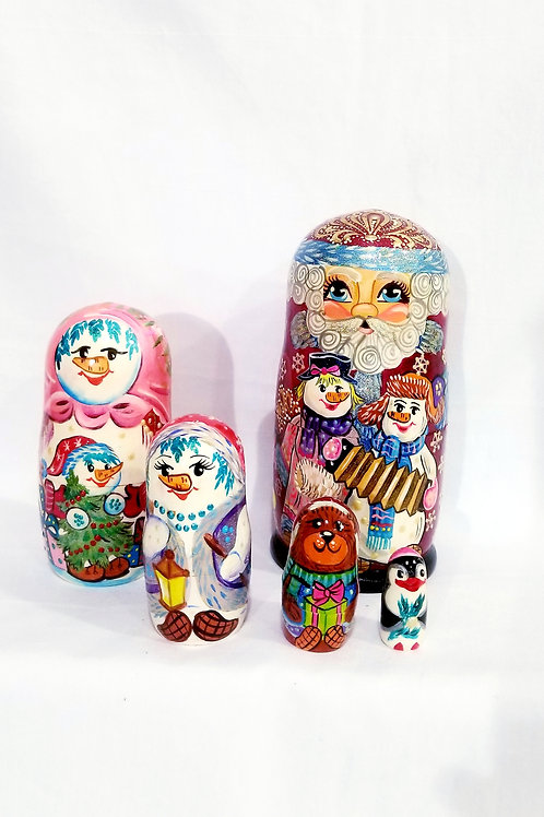 Santa nesting doll, 5 pieces 8.5  in high