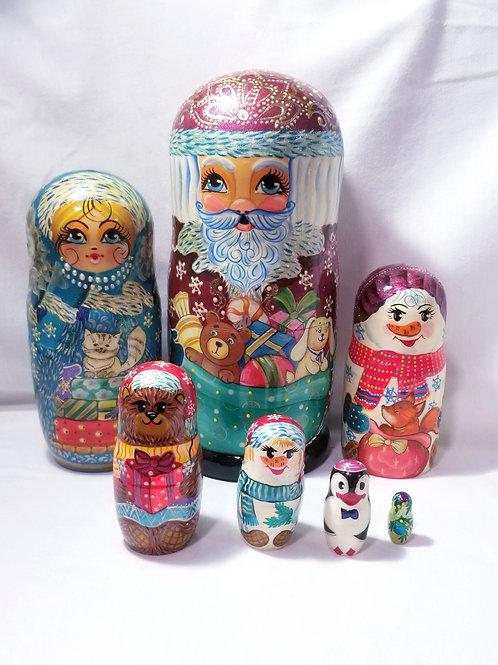 Santa nesting doll, 7 pieces