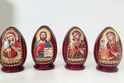 Egg shape Religious nesting doll , easter doll 3 pieces.