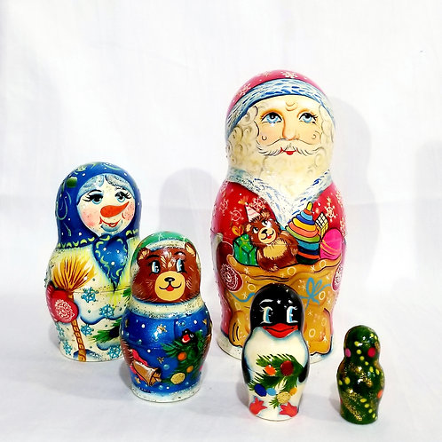 Santa nesting doll, 5 pieces  7in high