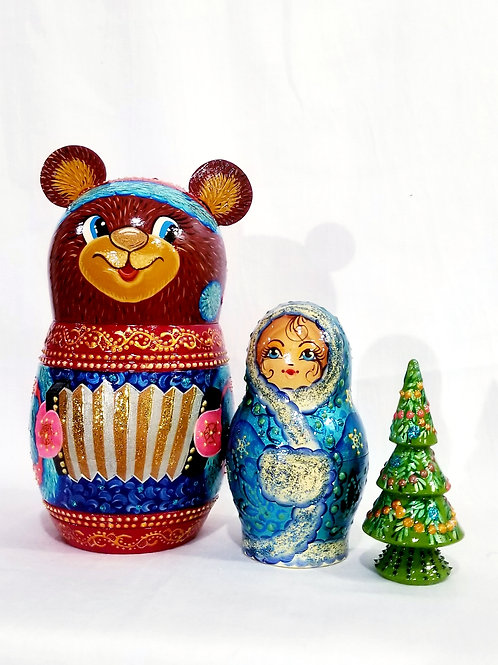 3 pieces Brown Christmas bear