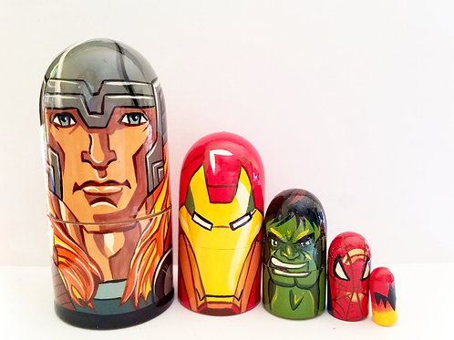 Thor nesting doll 5 pcs, 4.5 inches tall