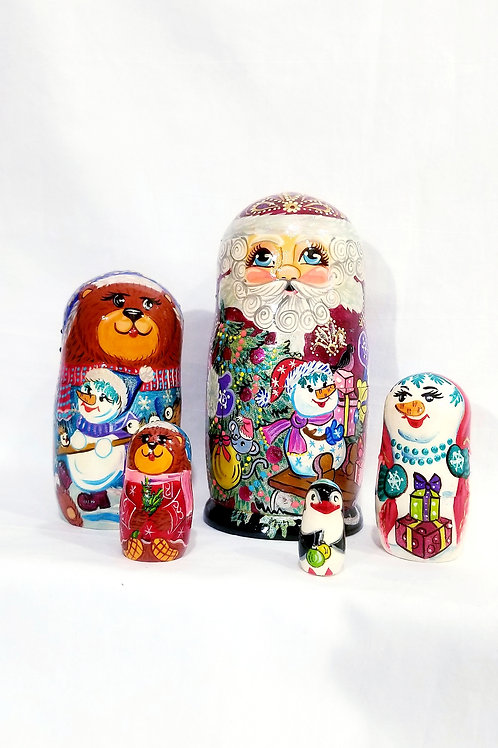 Santa nesting doll, 5 pieces 8 in high