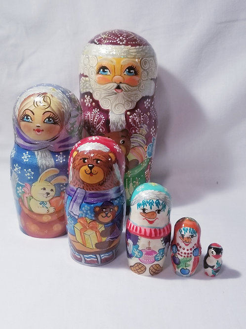 Santa nesting doll, 6 pieces