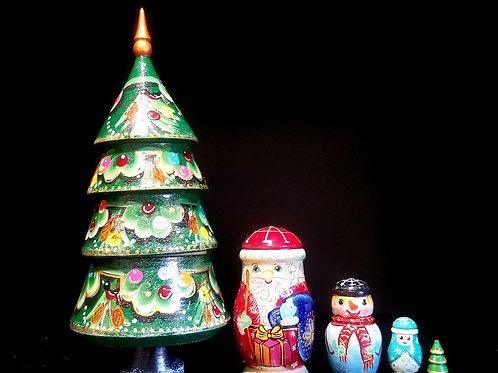 Christmas nesting tree 5 pieces