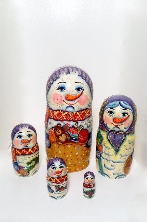Snowmen nesting doll 5 pic, 7 in