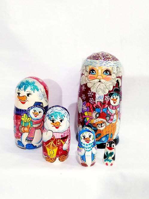 Santa nesting doll, 5 pieces 8.5 Inches H