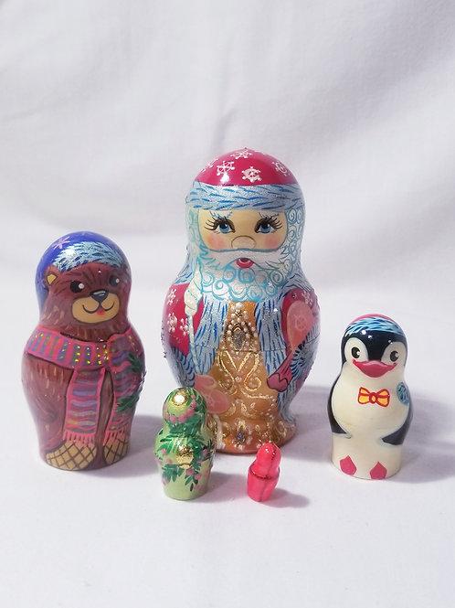 Santa nesting doll, 5 pieces