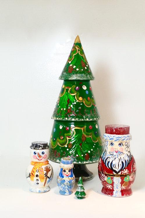 "Matryoshka Nesting Doll Handmade Christmas Nesting tree Santa Snowmen 5 pc 9.5"""