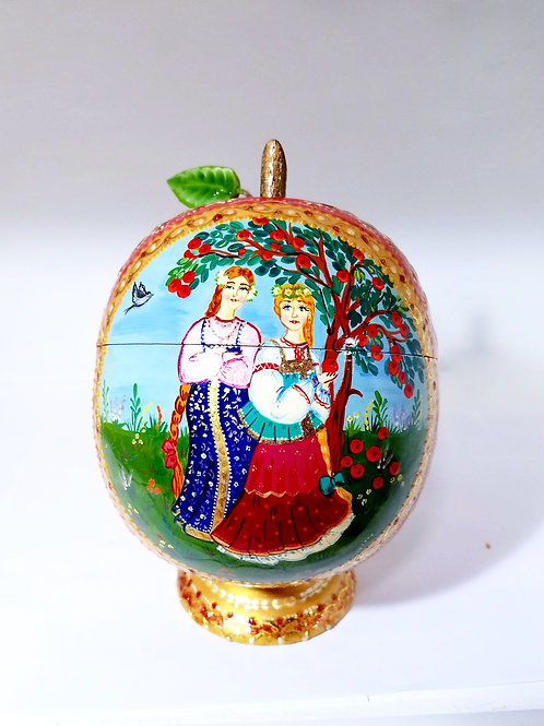 Apple shape Jewelry box (Mother & Daughter)8 in high