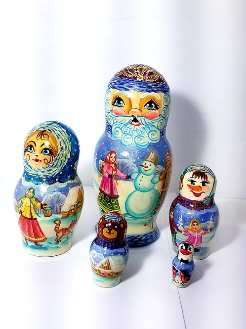 Santa nesting doll, 5 pieces