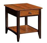 Denmark End Table | Elm & Brown Maple in Two-toned | 22in W x 26in D x 25in H | The Amish Home | Amish Furniture at the Pittsburgh Mills