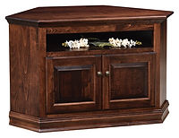 Traditional Corner TV Stand | Brown Maple in Rich Tobacco OCS228 | 49 1/2in W x 20in D x 28 1/2in H, 35in wall space | The Amish Home | Amish Furniture at the Pittsburgh Mills