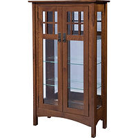Ellie Mission Curio | 3 adjustable shelves with plate groove, mirror back, clear glass, LED touch light, no lock | Quartersawn White Oak in Asbury OCS117 | 31 1/2in W x 13 3/4in D x 54 3/4in H | The Amish Home | Amish Furniture at the Pittsburgh Mills