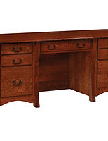 Master Double Pedestal Desk|Quartersawn White Oak in Michaels OCS113|70 1/2in W x 26in D x 30in H|The Amish Home|Amish Furniture at the Pittsburgh Mills