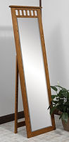 Open Top Mission Leaner Mirror with Support|Oak in Fruitwood OCS102|23in W x 13 1/2in D x 71in H|The Amish Home|Hardwood Furniture at the Pittsburgh Mills