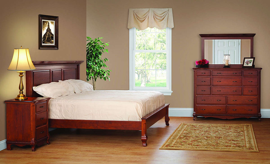 Classic Bedroom Furniture Collection|Classic Deluxe Bed with Low Footboard, Master Chest with Mirror, 3 Drawer Nightstand|Solid Cherry in Washington OCS107|The Amish Home|Amish Furniture at the Pittsburgh Mills