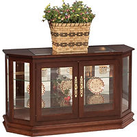 Angled Large Console Curio | Glass top, 2 adjustable shelves with plate groove, mirror back, clear glass, 2 LED touch lights, brass plate with lock | Cherry in Traditional OCS114 | 51 1/2in W x 19 1/2in D x 30in H | The Amish Home | Amish Furniture at the Pittsburgh Mills