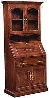 Deluxe Secretary Desk with Doors|Brown Maple in Boston OCS111|33 1/2in W x 16 1/2in D x 73in H|The Amish Home|Amish Furniture at the Pittsburgh Mills