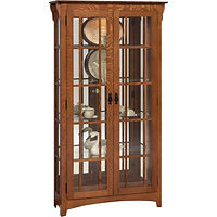 Mission Double Door Curio with Mullion Sides | 4 adjustable shelves with plate groove, mirror back, clear glass, LED touch light, black pull with lock | Oak in Michaels OCS113 | 39 1/2in W x 14in D x 72in H | The Amish Home | Amish Furniture at the Pittsburgh Mills