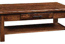 Hand Hewn Coffee Table with shelf|Rustic Cherry in Medium OCS110|48in W x 22in D x 18in H|The Amish Home|Amish Furniture at the Pittsburgh Mills