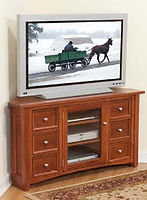 Garnet Hill Corner TV Stand|Cherry in Washington OCS107|56in W x 20in D x 30in H, 39 1/2in wall space|The Amish Home|Hardwood Furniture at the Pittsburgh Mills