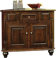 European Corner Buffet|Brown Maple in Coffee OCS226|45in W x 24in D x 35in H, 33in wall space|The Amish Home|Amish Furniture at the Pittsburgh Mills