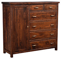 Timbermill Man's Chest | Four wide inset drawers, two narrow inset top drawers, and one full-length door. 1 1/2inch solid top with softened front edge, beaded trim on drawers, flat inset panel sides, antique brushed satin brass hardware. Choose adjustable shelves or clothing hang bar. | Rustic Cherry in Kona FC-3030 | 57 1/2in W x 20 1/4in D x 52in H | The Amish Home | Amish Furniture at the Pittsburgh Mills
