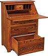 Junior's Mission Drop Front Desk shown open | Oak in Michaels OCS113 | 32in W x 18 1/2in D x 43in H | The Amish Home | Amish Furniture at the Pittsburgh Mills