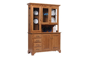 Americana 3 Door utch|Oak in Fruitwood OCS102|51in W x 18in D x 79in H|The Amish Home|Amish Furniture at the Pittsburgh Mills Amish Dining Solutions
