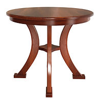 Butler Single Pedestal Table | Shown with round top, roundover edge. Available with butterfly leaf. | Oak in Michaels OCS113 | Many Sizes Available | The Amish Home | Amish Furniture at the Pittsburgh Mills