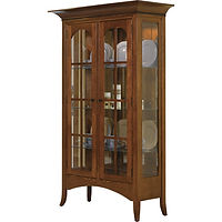 Bunker Hill Curio | 3 adjustable glass shelves with plate groove, mirror back, clear glass, LED touch light, no lock. | Quartersawn White Oak in Boston OCS111 | 46 1/4in W x 20 1/4in D x 76 1/4in H | The Amish Home | Amish Furniture at the Pittsburgh Mills