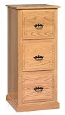 Ray's Traditional Three-Drawer File Cabinet | Oak in Fruitwood OCS102 | 21 1/2in W x 20 1/2in D x 46 1/2in H | The Amish Home | Amish Furniture at the Pittsburgh Mills