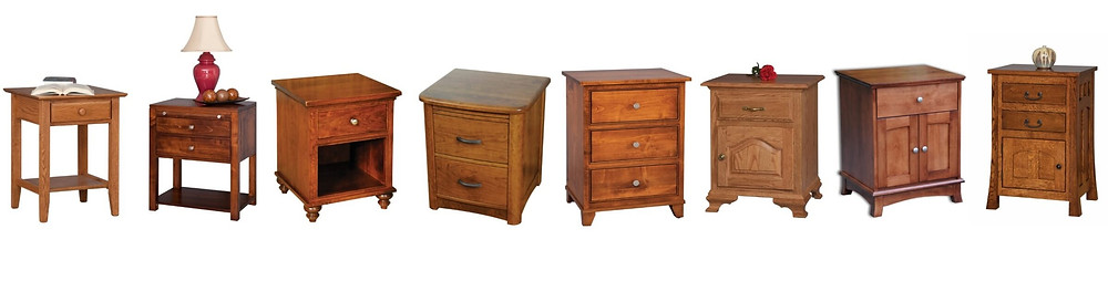 Various styles and configurations of nightstands