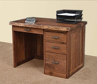 David's 42in Mission Flat Top Desk with Live Edge | Rustic Walnut in Natural OCS100 | 42in W x 26in D x 30in H | The Amish Home | Amish Furniture at the Pittsburgh Mills