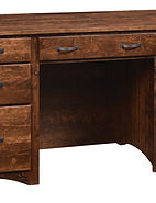 Wayne's Shaker Double Pedestal Desk|Rustic Cherry in Medium OCS110|62in W x 22in D x 31in H|The Amish Home|Amish Furniture at the Pittsburgh Mills