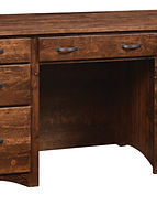 Wayne's Shaker Double Pedestal Desk|Rustic Cherry in Medium OCS110|62in W x 22in D x 31in H|The Amish Home|Amish Furniture at the Pittsburgh Mills